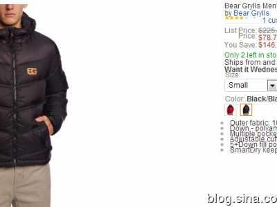 Bear Grylls贝尔格里尔斯男士500蓬羽绒服78.75刀 beargrylls