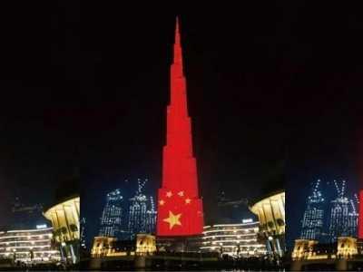 迪拜世界最高楼庆祝中国国庆 迪拜最高楼